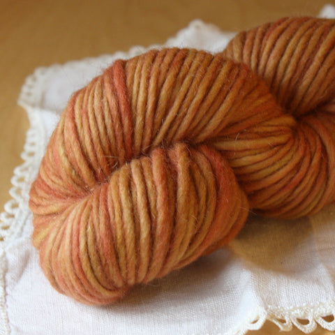 Mousse / Butterscotch OOAK / Single Ply Bulky Weight Wool Mohair Hand Dyed Yarn / Ready to Ship