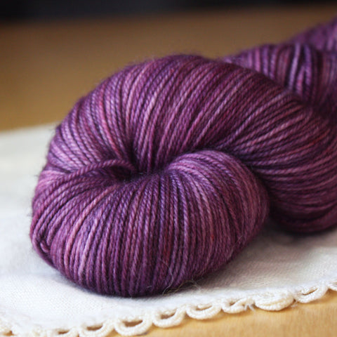 Alluree / Fingering Weight / Candied Violets Superwash Merino Cashmere Nylon Hand Dyed Yarn / Ready to Ship