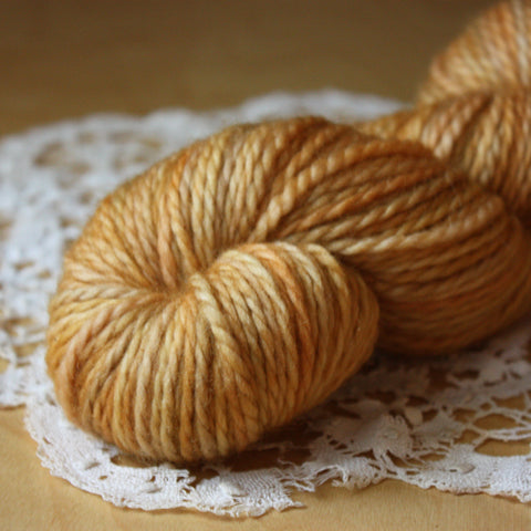 Lambe / Aran Weight / Caramel Cream OOAK Superwash Blue Faced Leicester Wool Hand Dyed Yarn / Ready to Ship