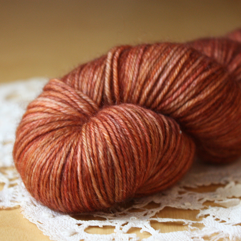 Down / Fingering Weight / Cinnabar Merino Wool Cashmere Nylon Hand Dyed Yarn / Ready to Ship