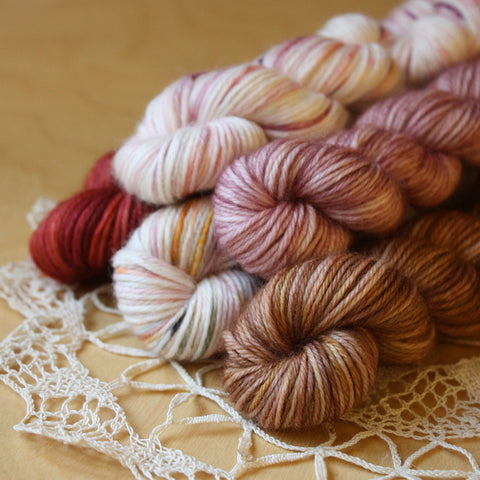 Mini Skeins / 400 Yards / Hand Dyed Antique Doily Mini Skeins MCN Fingering Weight