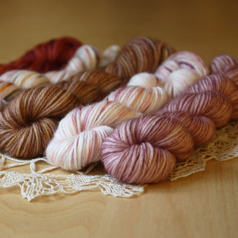 Mini Skeins / 400 Yards / Hand Dyed Antique Doily Mini Skeins MCN Fingering Weight / Preorder