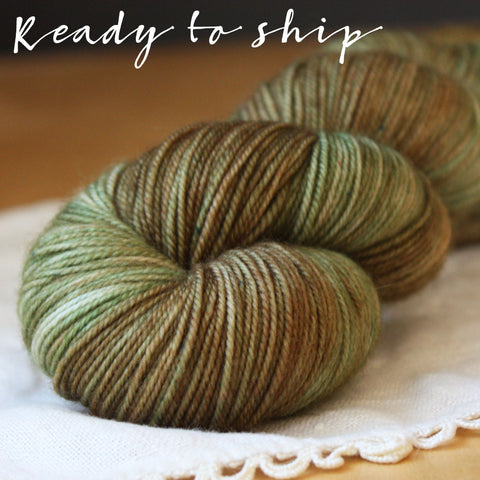 Alluree / Fingering Weight / Fatigues OOAK Superwash Merino Cashmere Nylon Hand Dyed Yarn / Ready to Ship