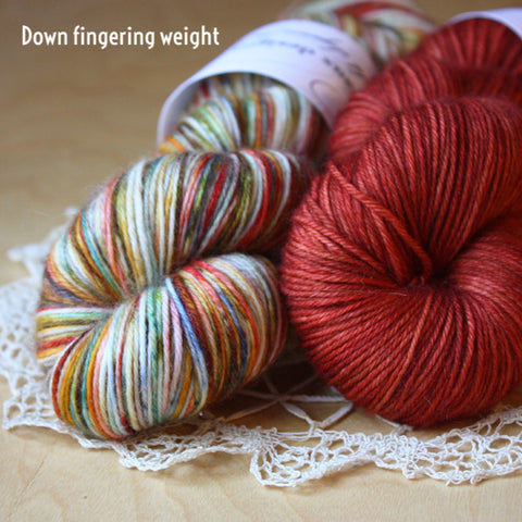 Down / Fingering Weight / Superwash Merino Wool Cashmere Nylon Hand Dyed Yarn