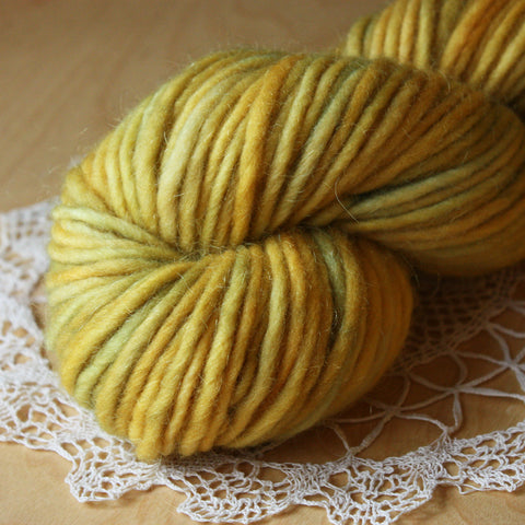 Mousse / Lemongrass OOAK / Bulky Weight Hand Dyed Yarn / Ready to Ship