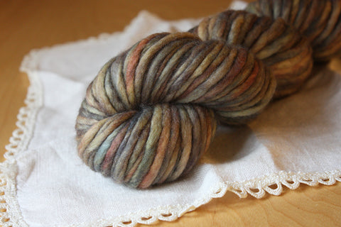 Coussin / Super Bulky Weight / Linen Merino Wool Hand Dyed Yarn / READY TO SHIP