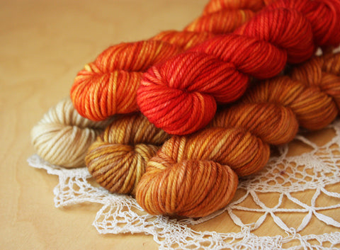 Mini Skeins / 230 Yards / Hand Dyed Red Orange Gold Gradient Mini Skeins DK Weight / READY TO SHIP