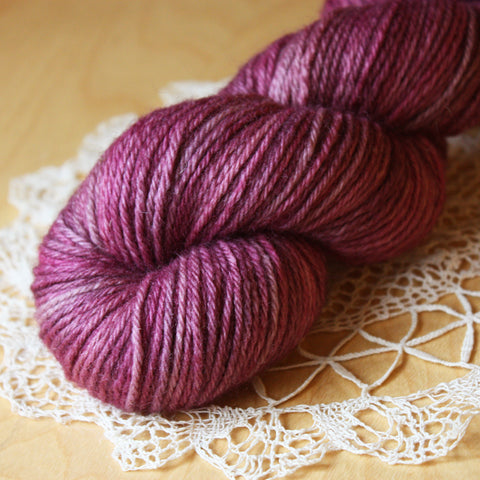 Lambe / DK Weight / Mulberry OOAK Hand Dyed Yarn / Superwash Blue Faced Leicester Wool