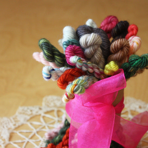 Petite Posies / A Bouquet of Skeinlettes / Hand Dyed Mini Skeins Yarn