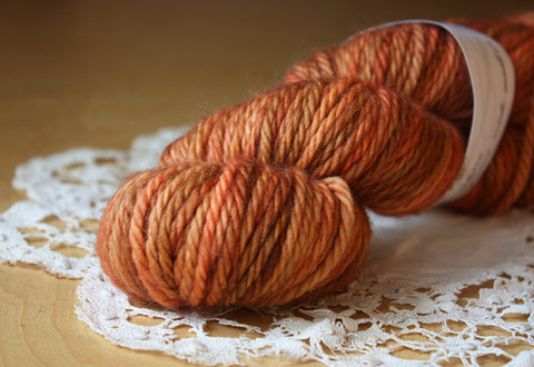 Beurre / Bulky Weight / SALE Pumpkin Superwash Merino Wool Hand Dyed Yarn