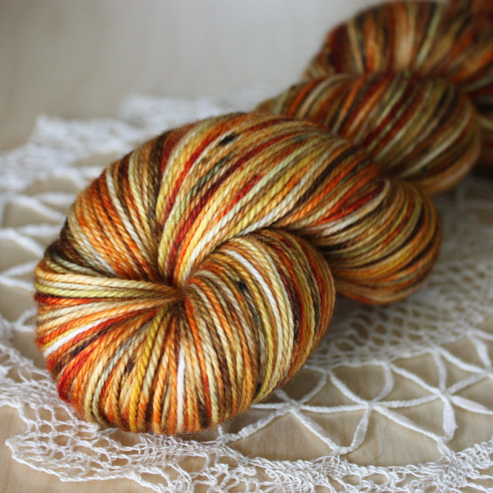 Alluree / Fingering Weight / Pumpkin Spice Merino Wool Cashmere Nylon Hand Dyed Yarn / READY TO SHIP
