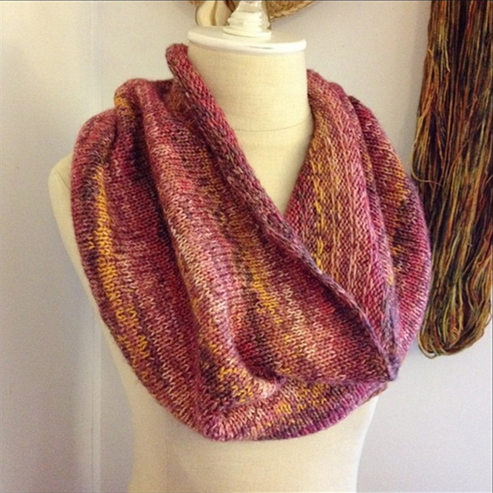 Raye Colourwork Cowl / Infinity Scarf Knitting Pattern for Mini Skeins