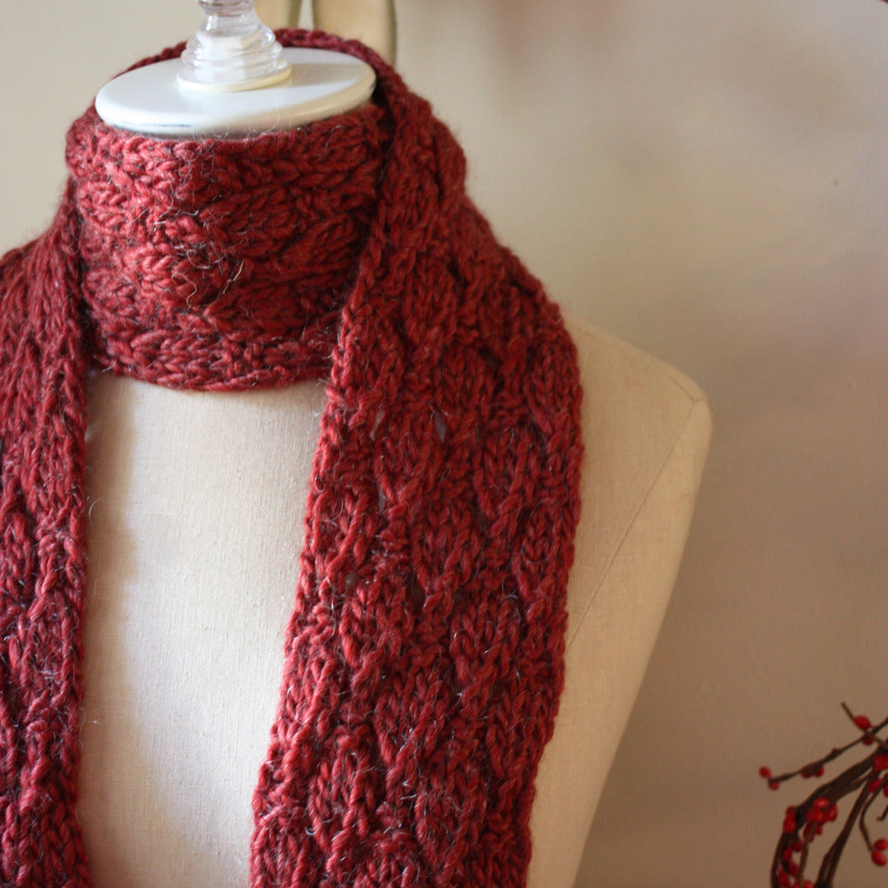 Soft Acorns Scarf Knitting Pattern