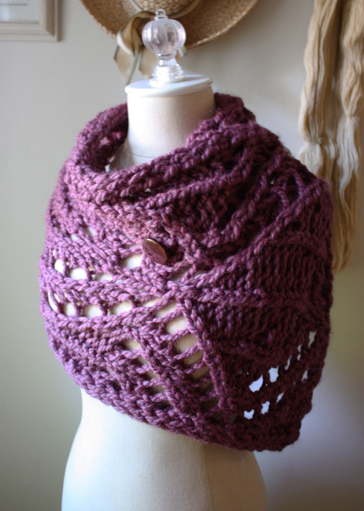 Regalia Lace Cowl Capelet Scarf Knitting Pattern – Phydeaux Designs ...