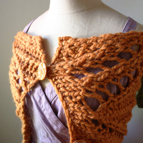 Regalia Lace Cowl Capelet Scarf Knitting Pattern