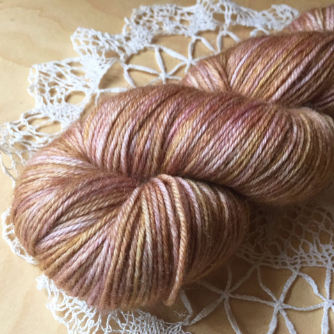 Down / Fingering Weight / Rosewood Merino Wool Cashmere Nylon Hand Dyed Yarn / Ready to Ship
