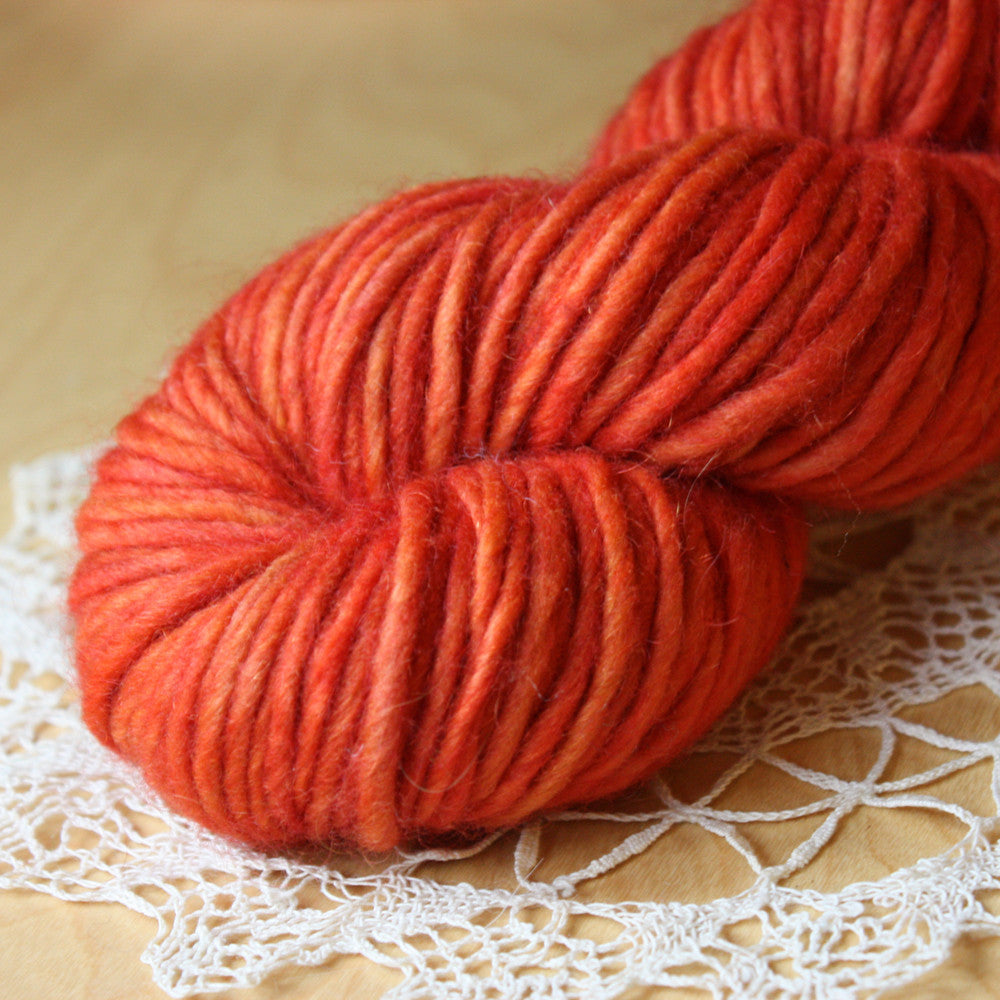 Paprika / Hand Dyed Yarn / Single Ply Bulky Weight Wool Mohair / Ready to Ship