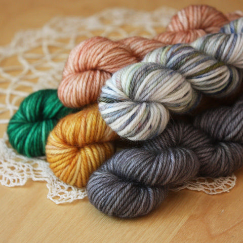 Mini Skeins / 400 Yards / Hand Dyed Christmas Carol Mini Skeins Down DK Weight / READY TO SHIP