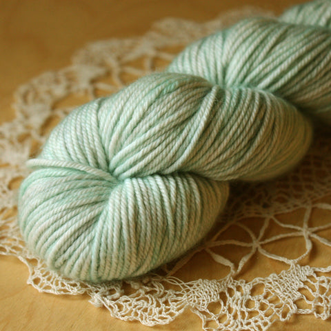 Caresse / Worsted Weight / Pale Sea Glass Merino Wool Cashmere Nylon Hand Dyed Yarn
