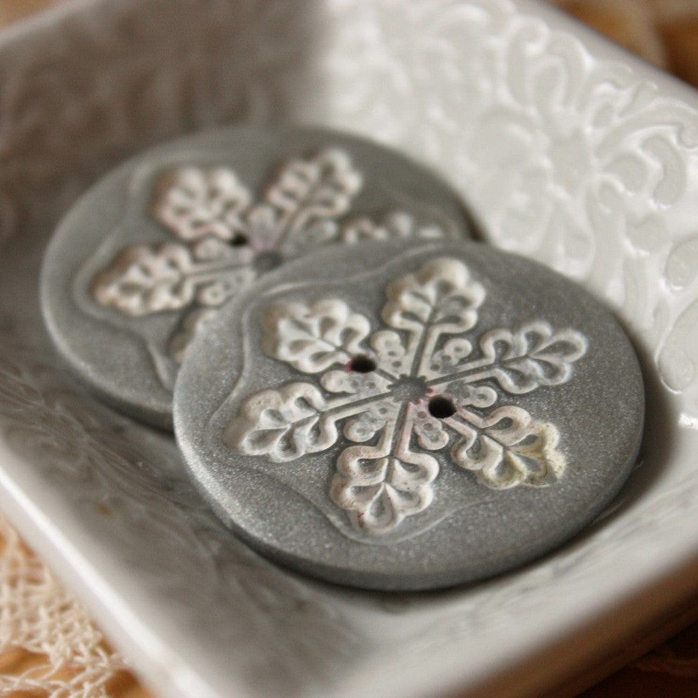 Buttons / Silver Pewter Polymer Clay Snowflake / Handmade Winter Holiday Button Notions