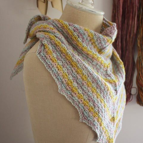 Strie Shawlette Knitting Pattern for Mini Skeins