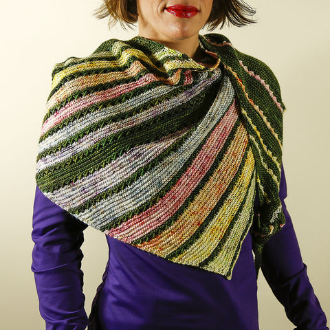 Switchback Shawl KIT / Hand Dyed Winter Speckled Rainbow MCN Fingering Weight Contrast Skein Knitting Pattern