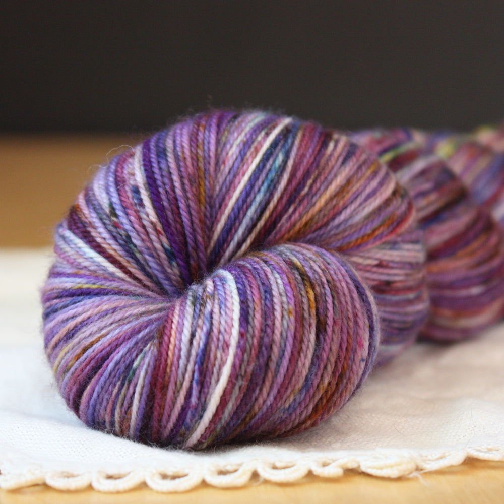 Alluree / Fingering Weight / Violet Rain Superwash Merino Cashmere Nylon Hand Dyed Yarn / Ready to Ship