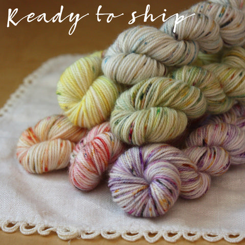 Hand Dyed Winter Speckled Rainbow MCN Fingering Weight Mini Skeins