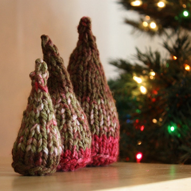 Three Christmas Trees Knitting and Crochet Pattern