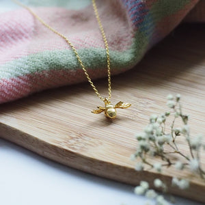 Brave Little Bee Necklace in Gold