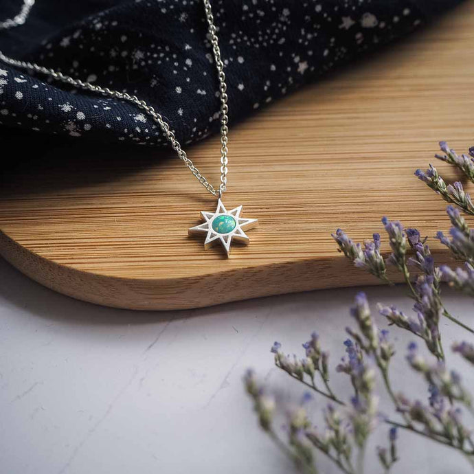 Opal North Star Necklace in Silver
