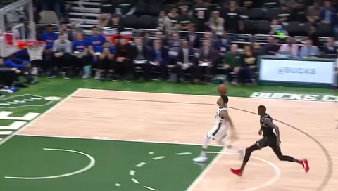 Giannis Antetokounmpo's free throw line dunk