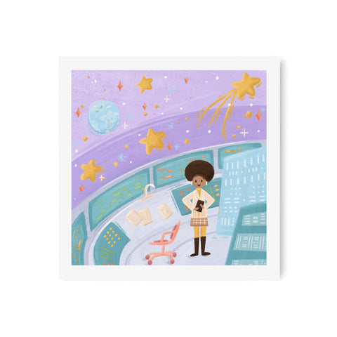 Spaceship Computer Girl Art Print