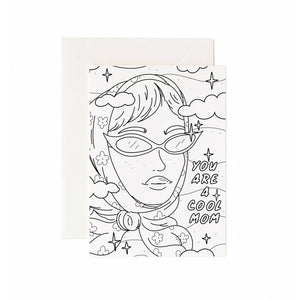 Cool Mom Greeting Card Coloring Sheet