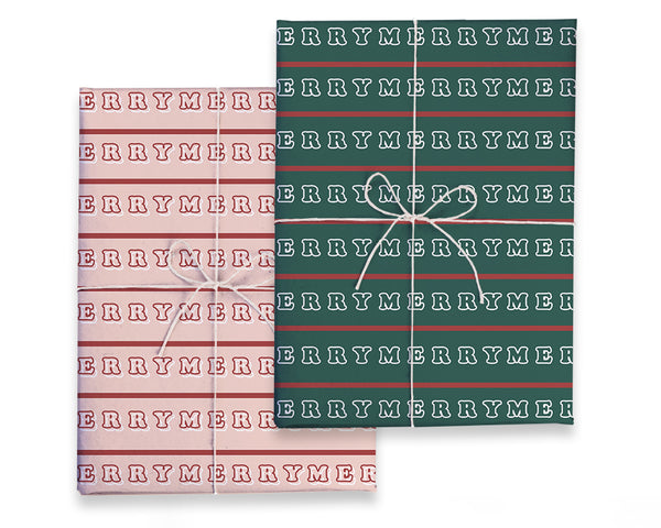 Double Sided Merry Merry Gift Wrap