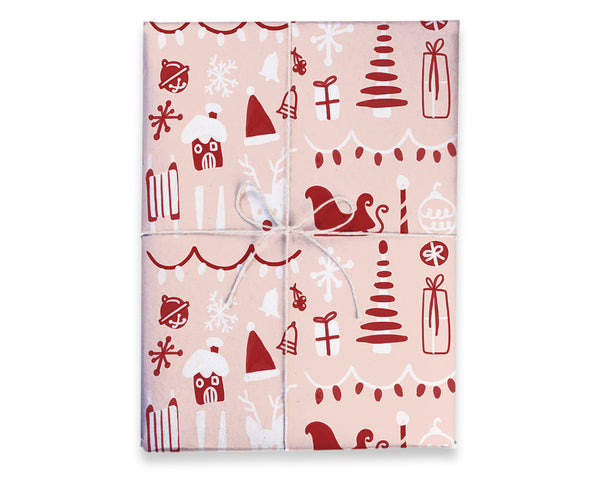 Double Sided Winter Gift Wrap