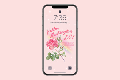 Vintage Style National Flower of America: The Rose Phone Wallpaper (Digital Download)