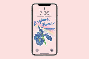Vintage Style National Flower of France: The Iris Phone Wallpaper (Digital Download)