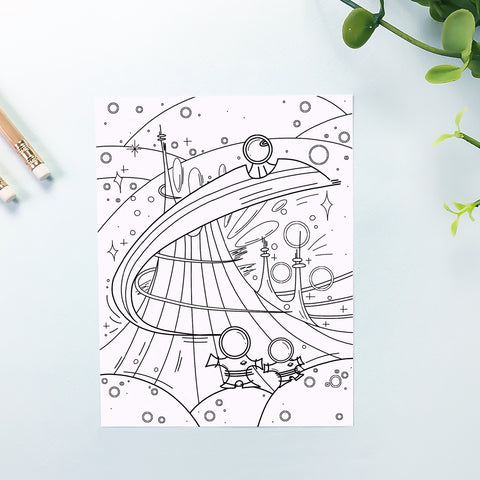 Space Coloring Sheet