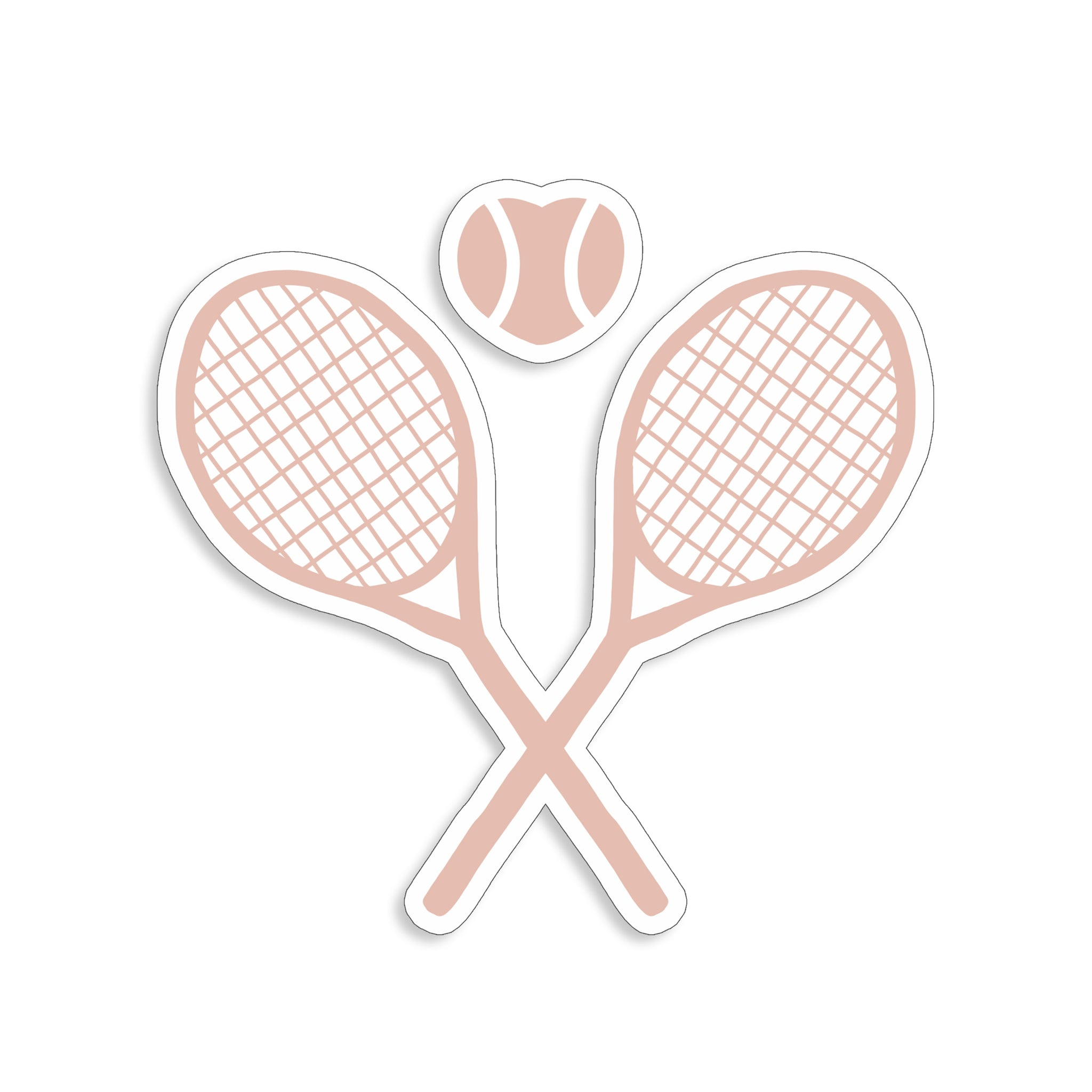 Heart Tennis Racquet Sticker