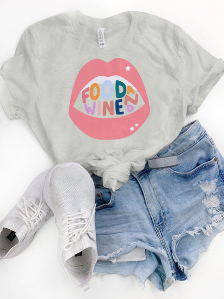 Rainbow Food and Wine Heather Tee