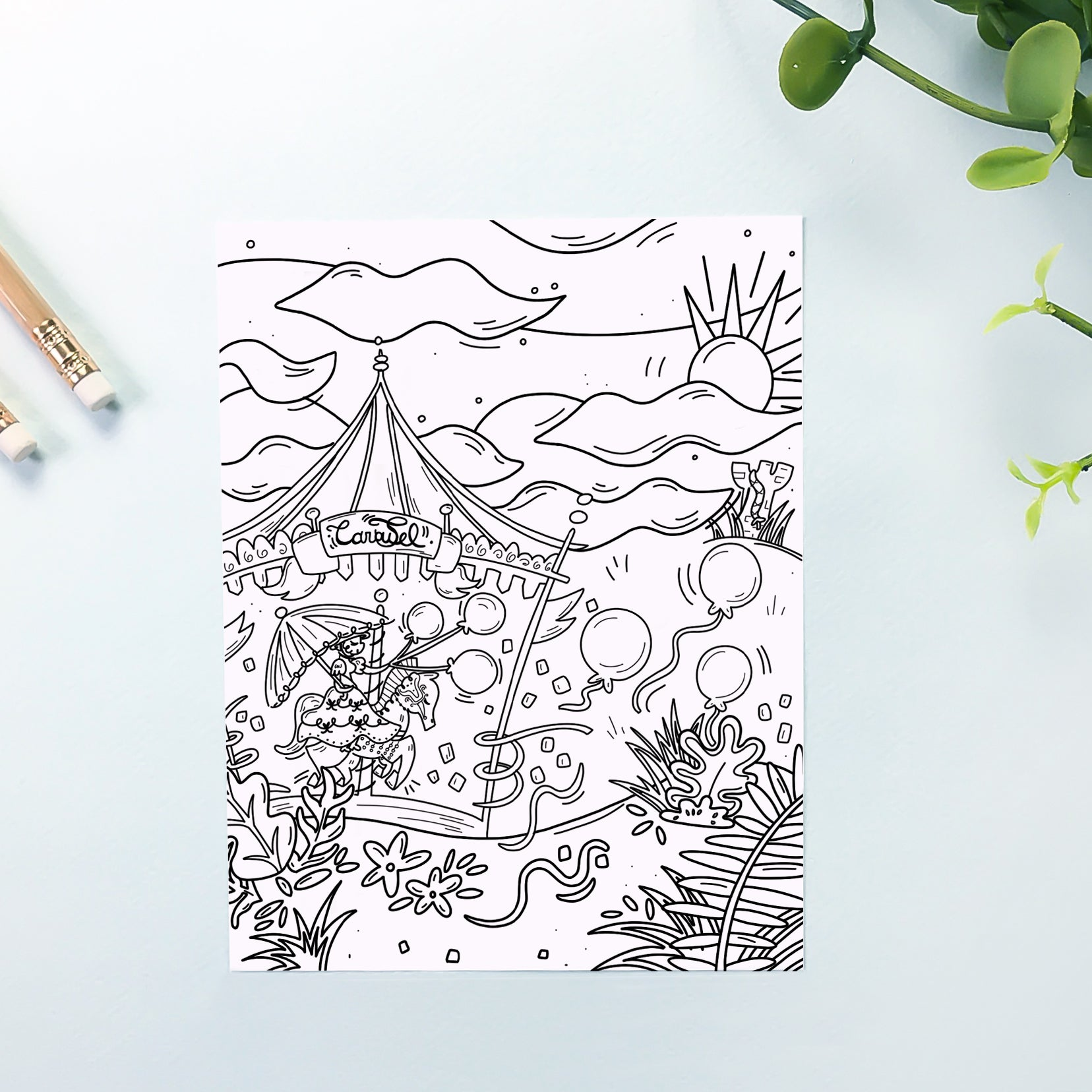 Carousel Coloring Sheet
