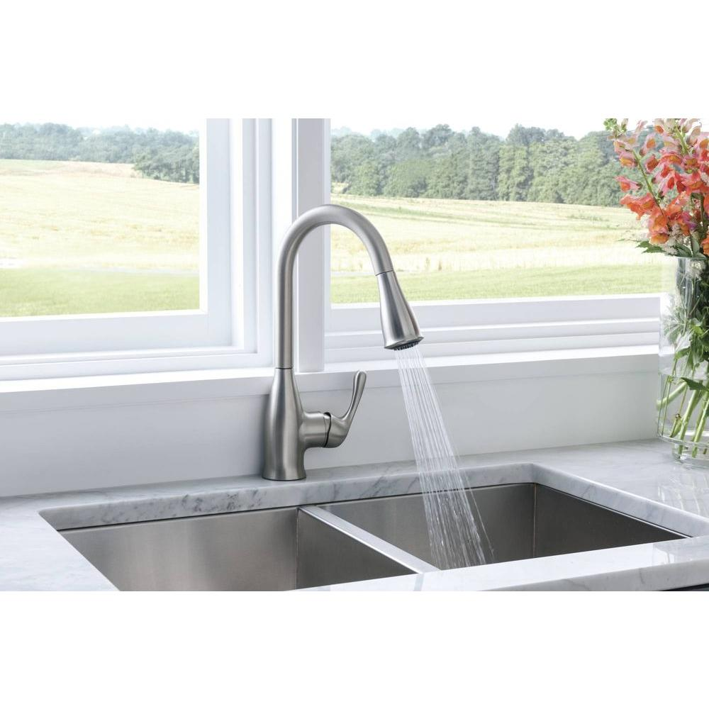 Moen Kaden Single Handle Pull Down Sprayer Kitchen Faucet With