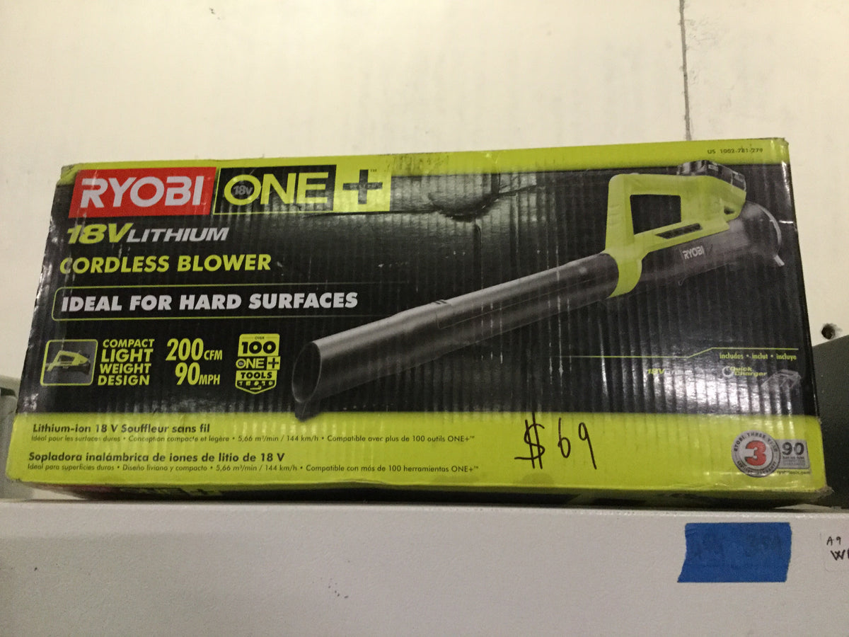 Ryobi ONE+ 90 MPH 200 CFM 18-Volt Lithium-Ion Cordless Leaf Blower - 2 0 Ah  Battery and Charger Included