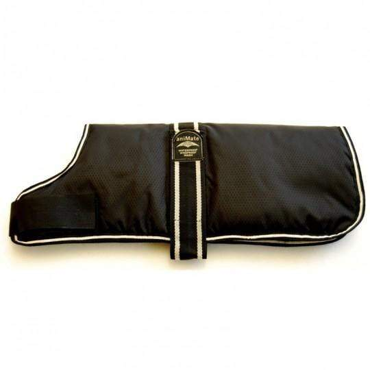 AniMate Black Waterproof Dog Coat 10""