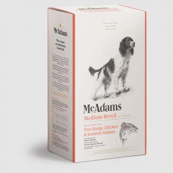 McAdams Free Range Chicken and Salmon Dog Food for Medium Breed Dogs - Birdham Animal Feeds