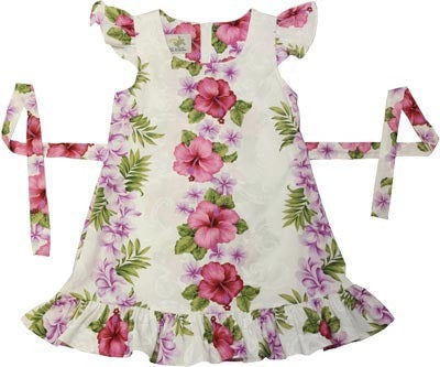 Girls Hawaii Dress Plumeria Panel