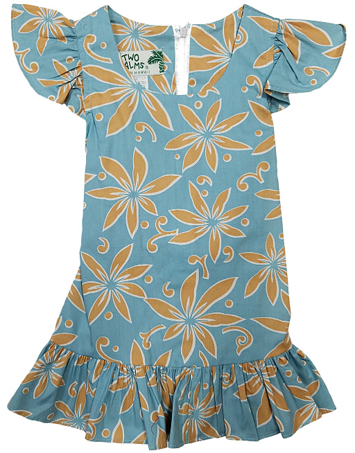 Girls Hawaiian Dress Tiare Teal