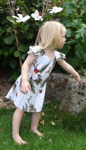 Girls Hawaii Dress Hawaiian Orchid White