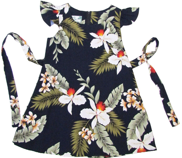 Girls Hawaiian Dress Hawaiian Orchid in Navy